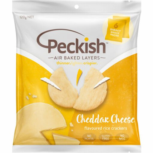 Peckish Cheddar Cheese Rice Crackers 20g x 6 Snack Packs