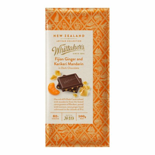 Whittakers Artisan Collection Chocolate Block Fijian Ginger & Mandarin