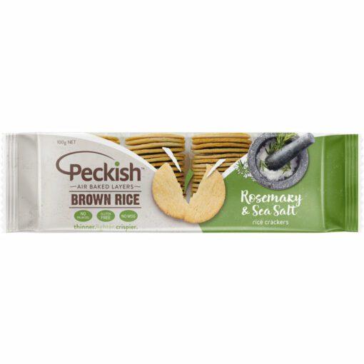 Peckish Brown Rice Crackers Rosemary & Salt 100g