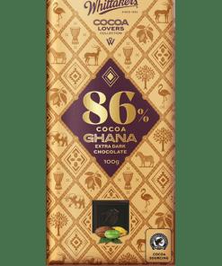 Whittakers Cocoa Lovers 86% Ghana Extra Dark Choc Block